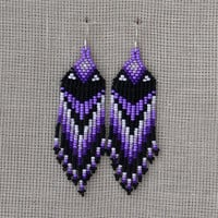 Native American Beaded Earrings Inspired. Black White Purple Earrings. Long Dangle Earrings. Beadwork