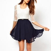 Fashionwoman  Lace stitching chiffon dress pleated skirt