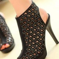 Ladies Cut Out Design High Heel Style Ankle Boots