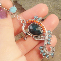 Peacock Belly Button Jewelry Ring Orange Aqua
