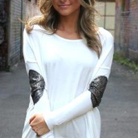 Whitei Long Sleeve Top with Sequin Sleeves Detail