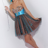 Sparkle 71230 - Turquoise Blue, Coffee Brown Cocktail Dress Prom Dresses Online