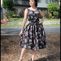 Queen of Heartz Pricilla Dress in Brown Floral | Pinup Girl Clothing