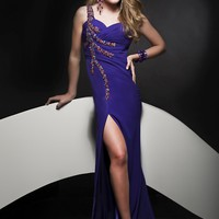 Jasz Couture 4880 Purple One Shoulder