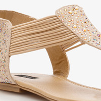 Iridescent Rhinestone-Accented Thong Sandals | FOREVER 21 - 2039849491