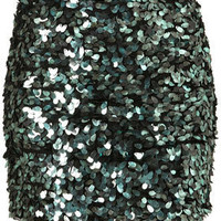 Premium Sequin Green Tight Skirt