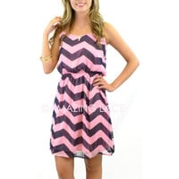 Everwood Pink & Navy Chevron Sheer Dress