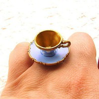 Kawaii Cute Japanese Ring Blue Teacup