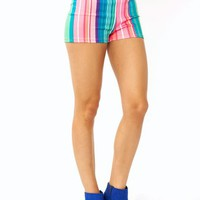 striped-high-waisted-shorts PINKGRN - GoJane.com
