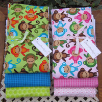 Twin Baby Burp Cloth Set  Monkey Boy Girl by SweetStitchesDesign