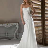 2012 Maggie Sottero Bridal - Ivory Gathered Chiffon Beaded Draping Strapless Heidi Wedding Gown - 0 - 28 - Unique Vintage - Prom dresses, retro dresses, retro swimsuits.