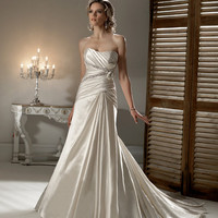 2012 Maggie Sottero Bridal - Champagne Mist Satin Beaded Gathered Strapless Gabbi Wedding Gown - 0 - 28 - Unique Vintage - Prom dresses, retro dresses, retro swimsuits.