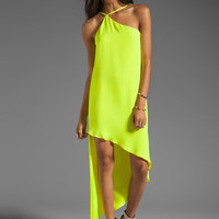 Mason by Michelle Mason Asymmetric Shift Maxi in Citron from REVOLVEclothing.com