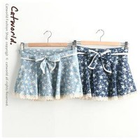 Mottled star lace trim straps divided skirts
