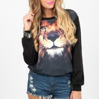 Lion Print Long Sleeve Color Block Sweatshirt