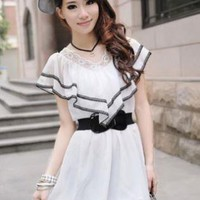 White OR Pink Chiffon V-Neck Ruffles and Lace Dress