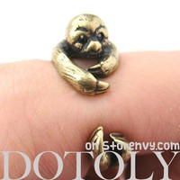 3D Sloth Animal Wrap Around Hug Ring in Bronze - Sizes 5 to 10