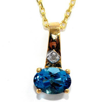 1.5 Carat Genuine London Blue Topaz Diamond Pendant 14Kt Yellow Gold Plated