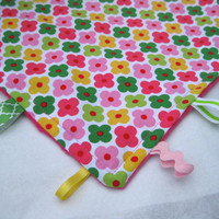 Pink Flower Taggie Blanket with Soft Pink Minky, Ribbons, Lovey Blanket - Baby Girl Blanket