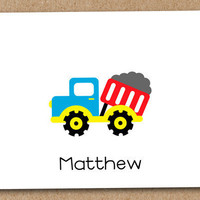 Dump Truck Card Boys Personalized Note Cards set by Luv2ScrapForU