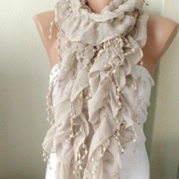 Beige Color Ruffle Scarf from 100 coton with pompom lace | moonfairy - Accessories on ArtFire
