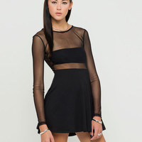 Motel Valeria Mesh Top Skater Dress in Black
