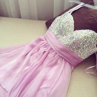 Sweetheart Purple Chiffon Prom Beadings Dress