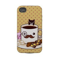 Cute mustache coffee cup with kawaii animals tough iphone 4 case from Zazzle.com