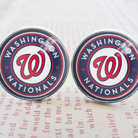 Mens Cuff Links , Silver MLB Washington Nationals Logo Cufflinks , Gift Box