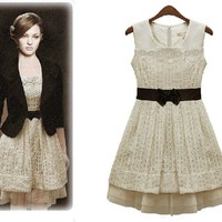 Retro High Waist Lace Chiffon Sleeves Dress