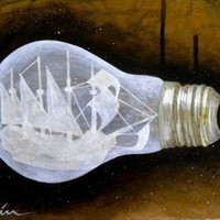 """Ship in a Lightbulb"" Art Print by Bryan Keith Lanier 