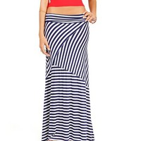 Navy/White Asymmetrical Maxi Skirt