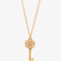 Rhinestoned Key Charm Necklace | FOREVER21 - 1058385010