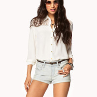 Distressed Denim Shorts w/ Belt | FOREVER21 - 2040900369