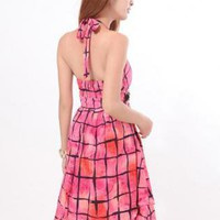 Printing Department Neck Dress S011732