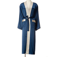 One Kings Lane - All Wrapped Up - Medium Robe, Indigo/Smoke