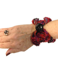 Hand Knit Cuff/Bracelet Red Black Purple
