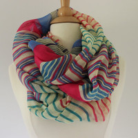 Chunky MuiltiColor Striped Scarf- MultiColor Stripes Infinity Scarf - Pink Green Blue Loop Scarf, Circle Scarf - Handmade Women&#x27;s Accessory