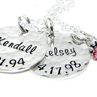 Personalized Mom Necklace - Hand Stamped Sterling Silver