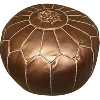 Bronze Moroccan Leather Pouf
