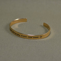 I love you to the moon and back bronze cuff bracelet