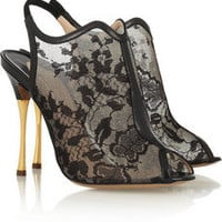 Nicholas Kirkwood | Lace-mesh and leather sandals | NET-A-PORTER.COM