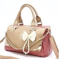 lulula  sweet pink black orange lattice bowknot woman bag