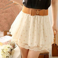 Fashionwoman  nice skirt Short skirt of tall waist lace wave point