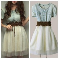 Vintage Denim Gauze Skirt Dress
