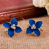Four Leaves Rhinestone Earrings