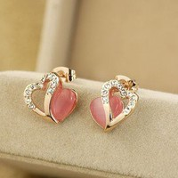 Hollow heart-shaped earrings