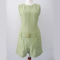 Vintage Green Mod Romper w/ Belt, S-M // 60s Style Green Floral Summer Playsuit
