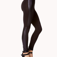 Faux Leather-Paneled Leggings