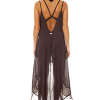 RVCA Maxi Dress Mogador Crinkle Gauze in Shale